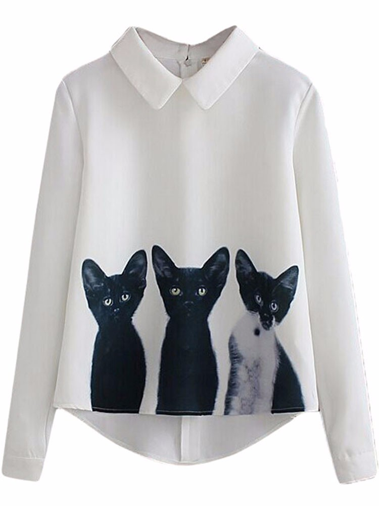 Cartoon Cat Printed Blouse
