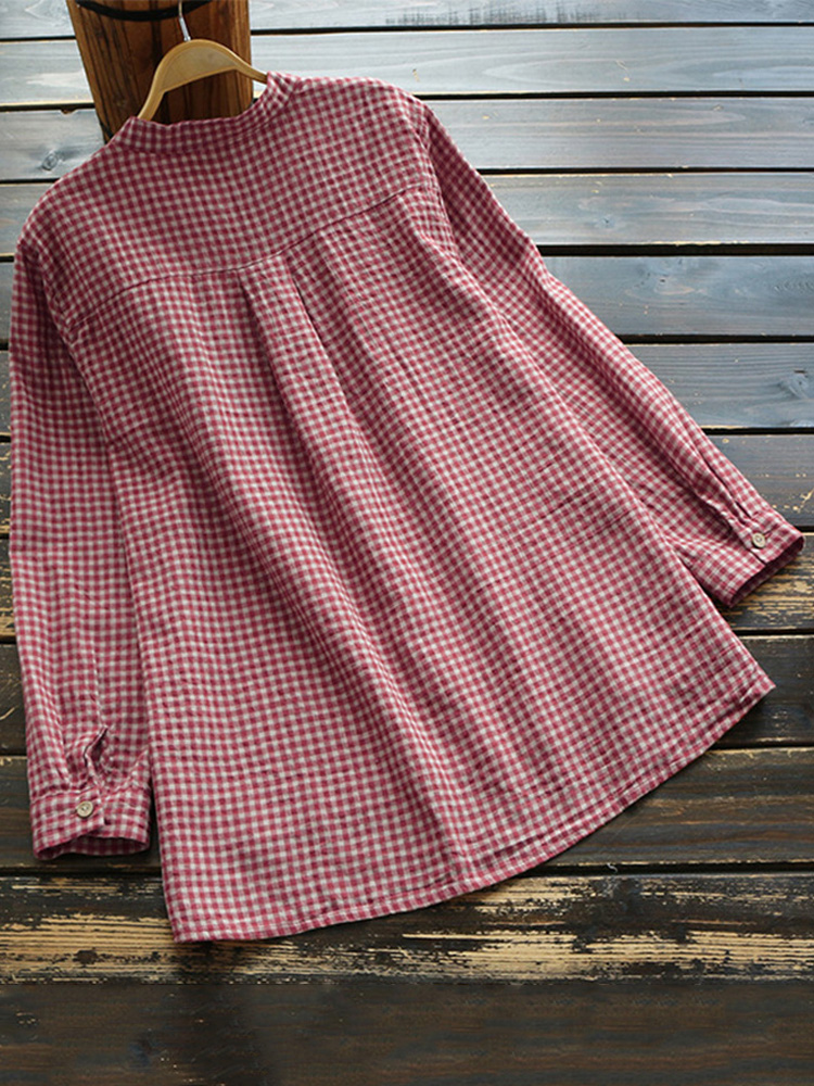Women Plaid Buttons Stand Collar Vintage Blouse