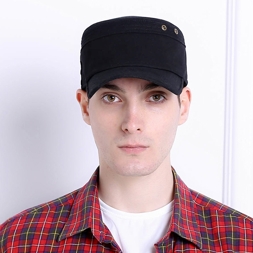 Men Summer Cotton Adjustable Rivet Flat Cap