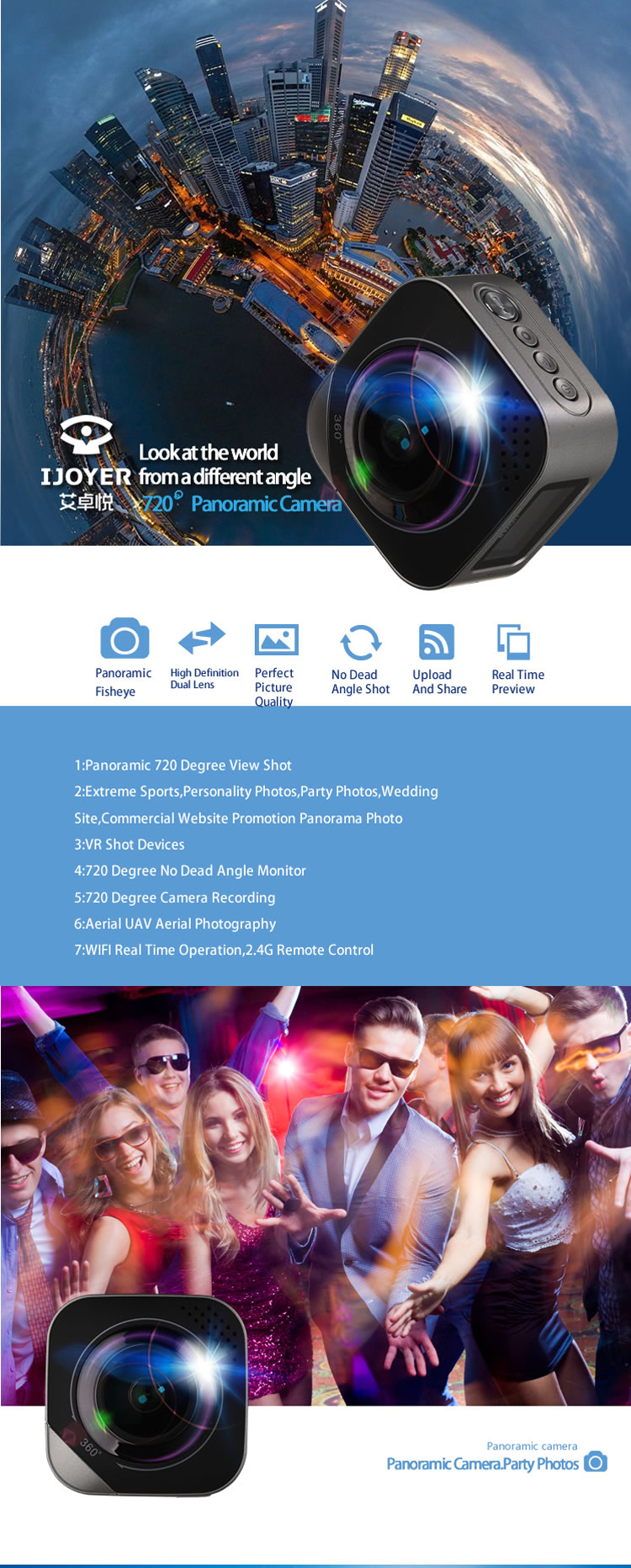 Ijoyer A2 360 Degree Dual Lens Panoramic VR WIFI HD Action Sportscamera With Tripod