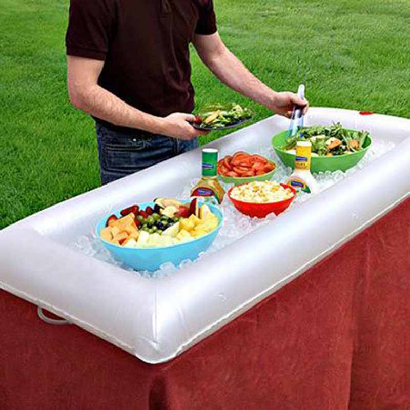 Inflatable Salad Bar Buffet Ice Bucket Outdoor Swimming Pool Decoration Food Supplies Portable Blow Up Food and Beverage Cooler and Server with Drain Plug
