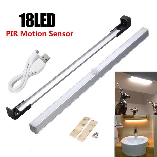 Wireless PIR Motion Sensor USB 18 LED Cabinet Closet Night Light Bar Lamp
