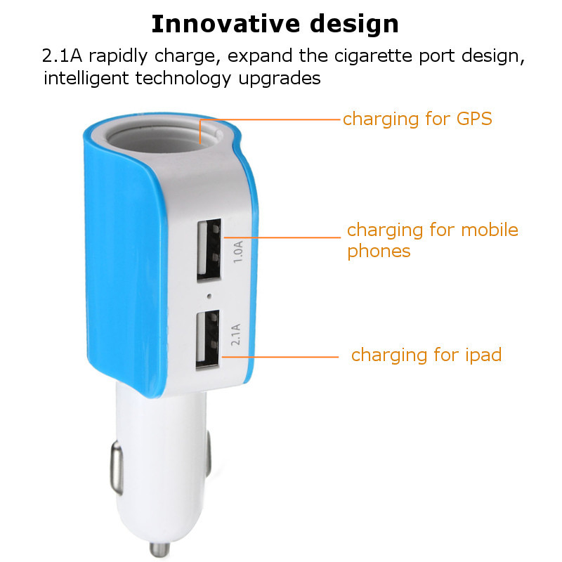 Universal Dual USB Port Car Charger Adapter Voltage DC 5V 2.1A 120W for iphone
