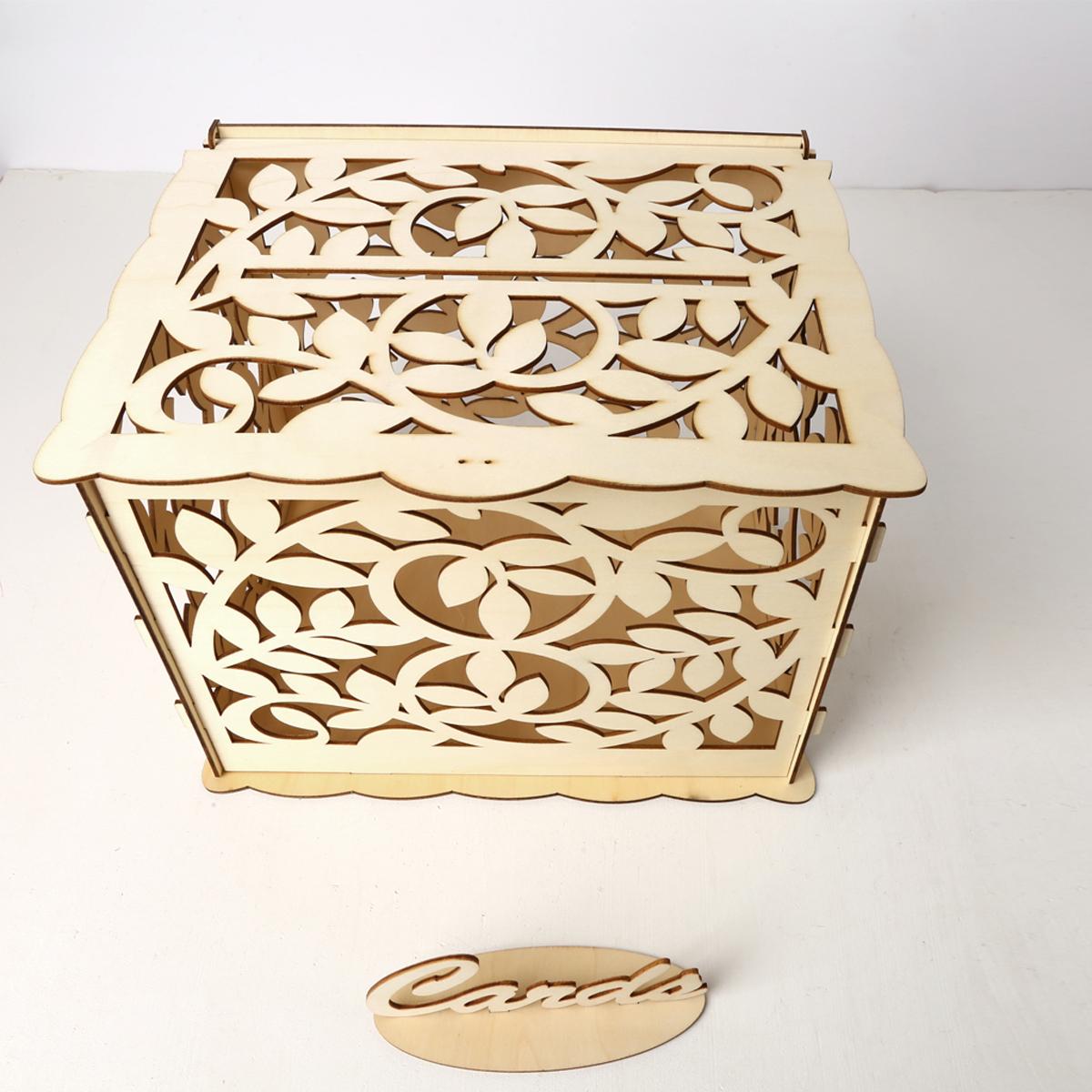Wedding Gift Card Box Diy: Wedding Card Box With Lock Diy Money Wooden Gift Leaf