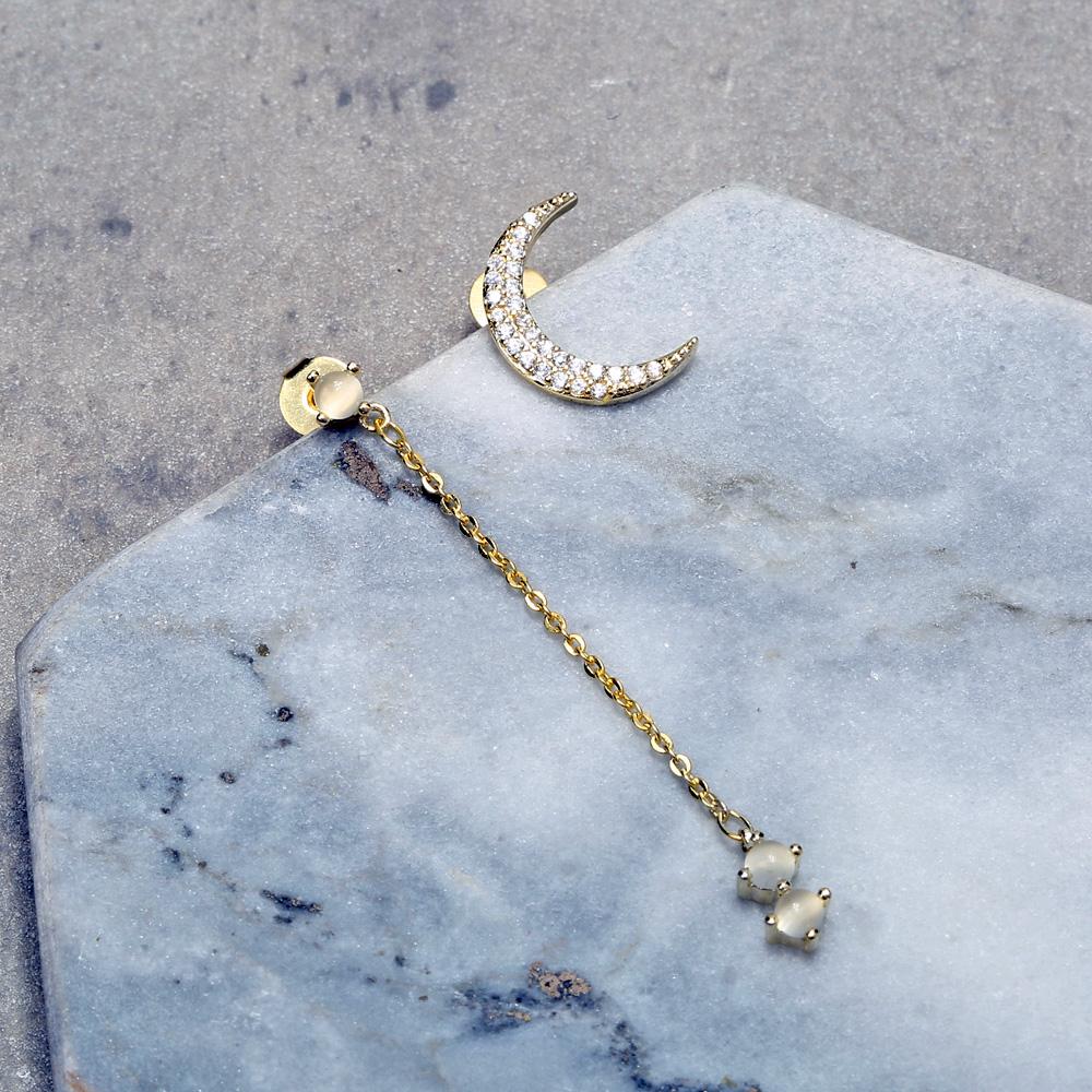 JASSY® Classic 925 Sterling Silver Moon Opal Zircon Earring