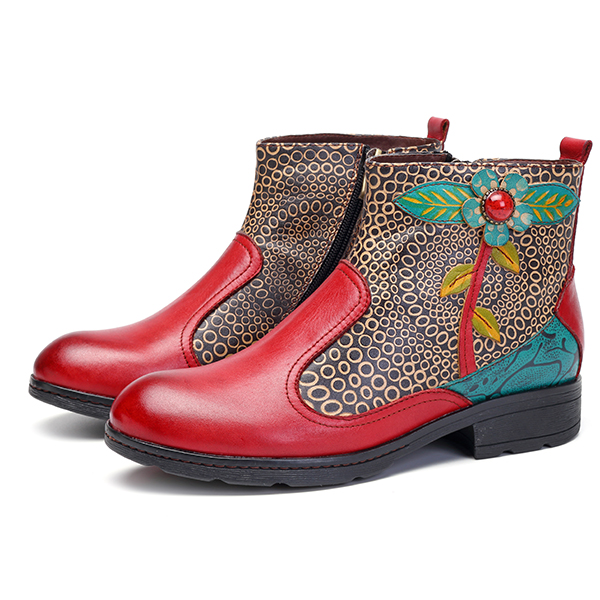 SOCOFY Retro Splicing Pattern Flat Ankle Leather Boots