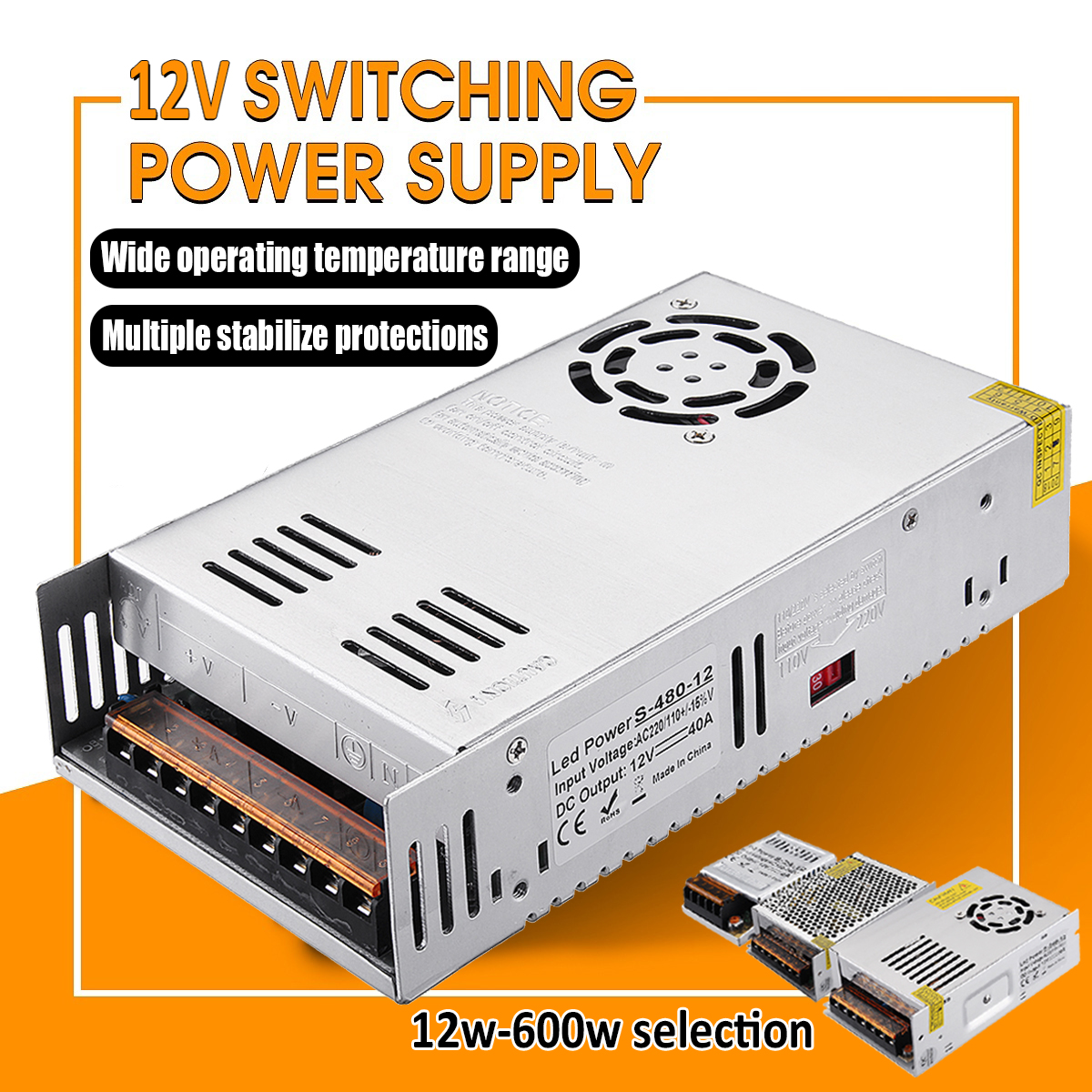 12V Switching Power Supply Driver for LED Strip 12W-600W Switch Power Supply Transformer
