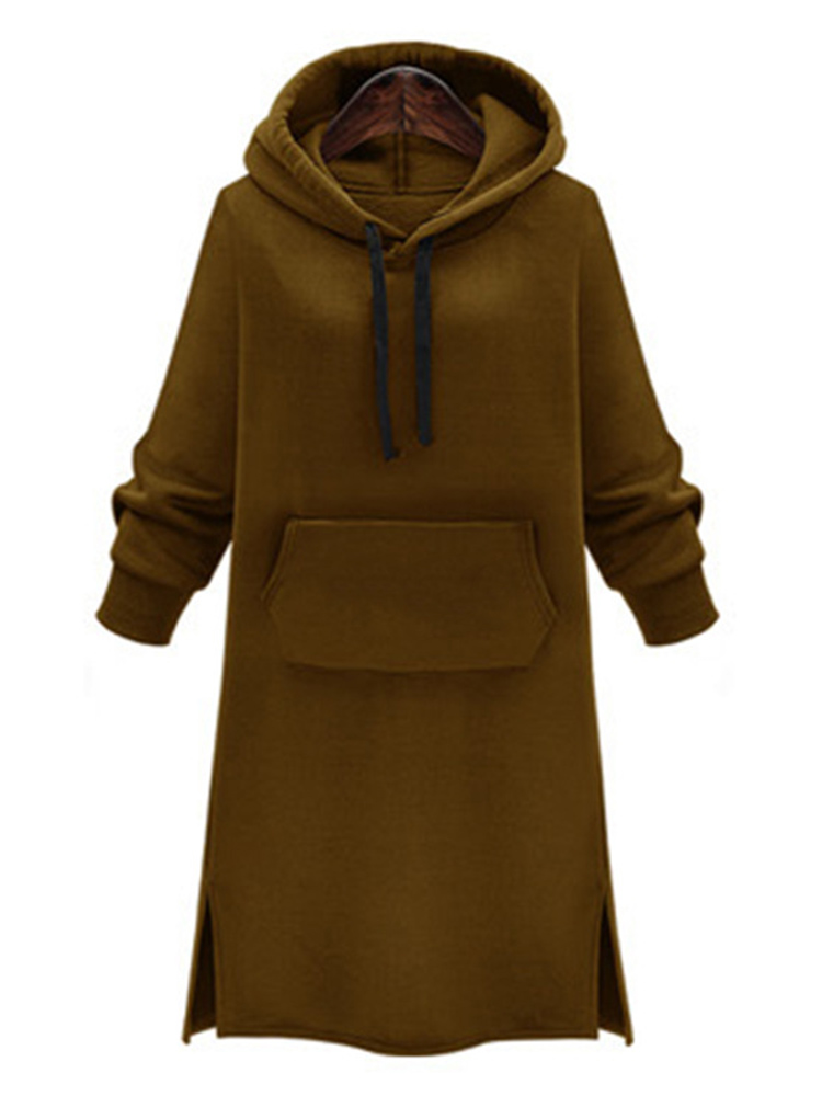 Casual Women Slim Pure Color Hooded Long Sleeve Thicken Sweatshirts