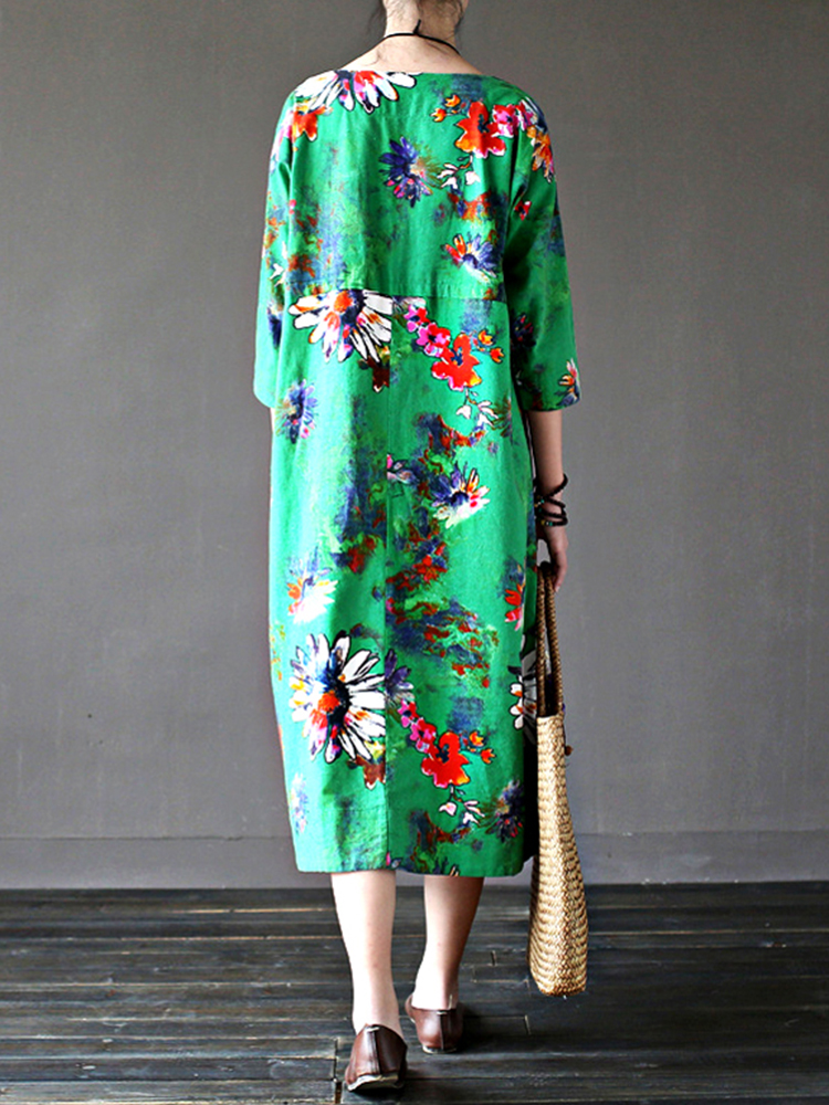Retro Women Floral Printed 3/4 Sleeve Loose Maxi Dresses With Pocket