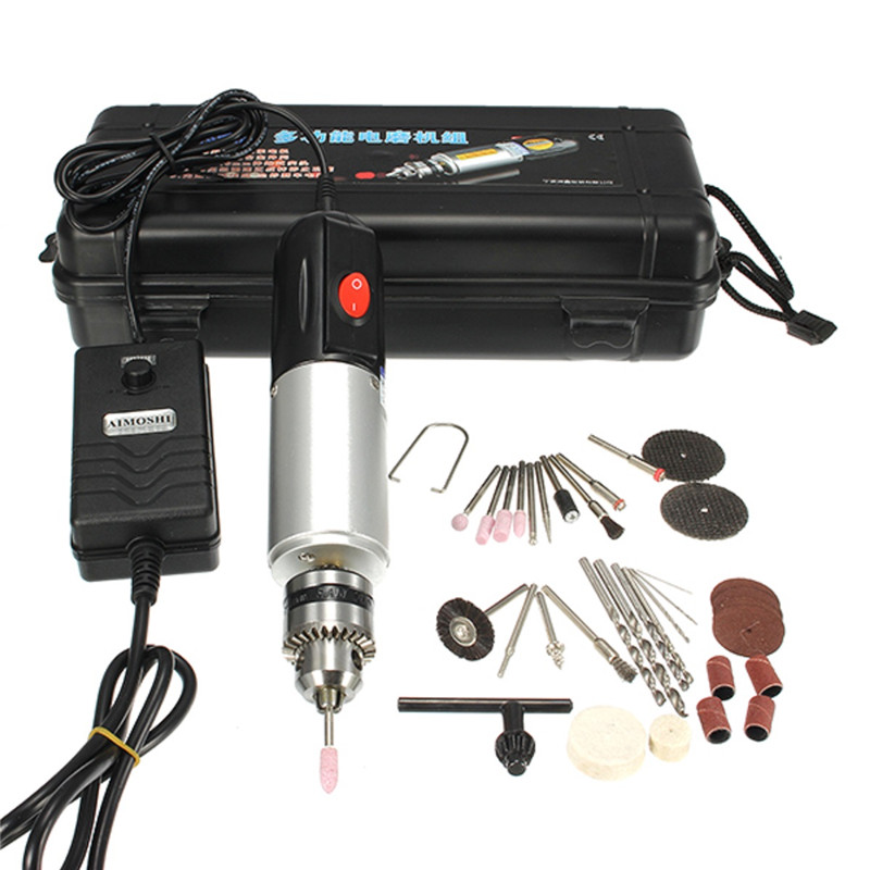 220V 72W Micro Electric Hand Drill Adjustable Variable Speed Electric Grinder with 33pcs Tool Accessories