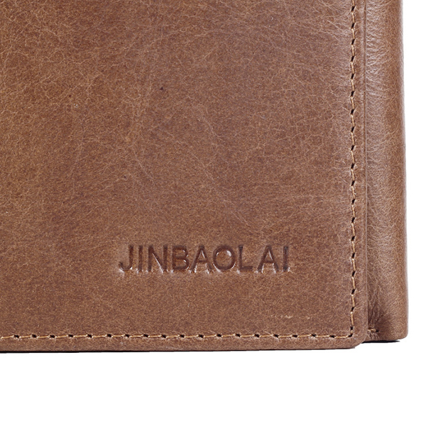 JINBAOLAI Men Genuine Leather Minimalist Tri-fold Wallet Classic Vintage Multicard Card Holder