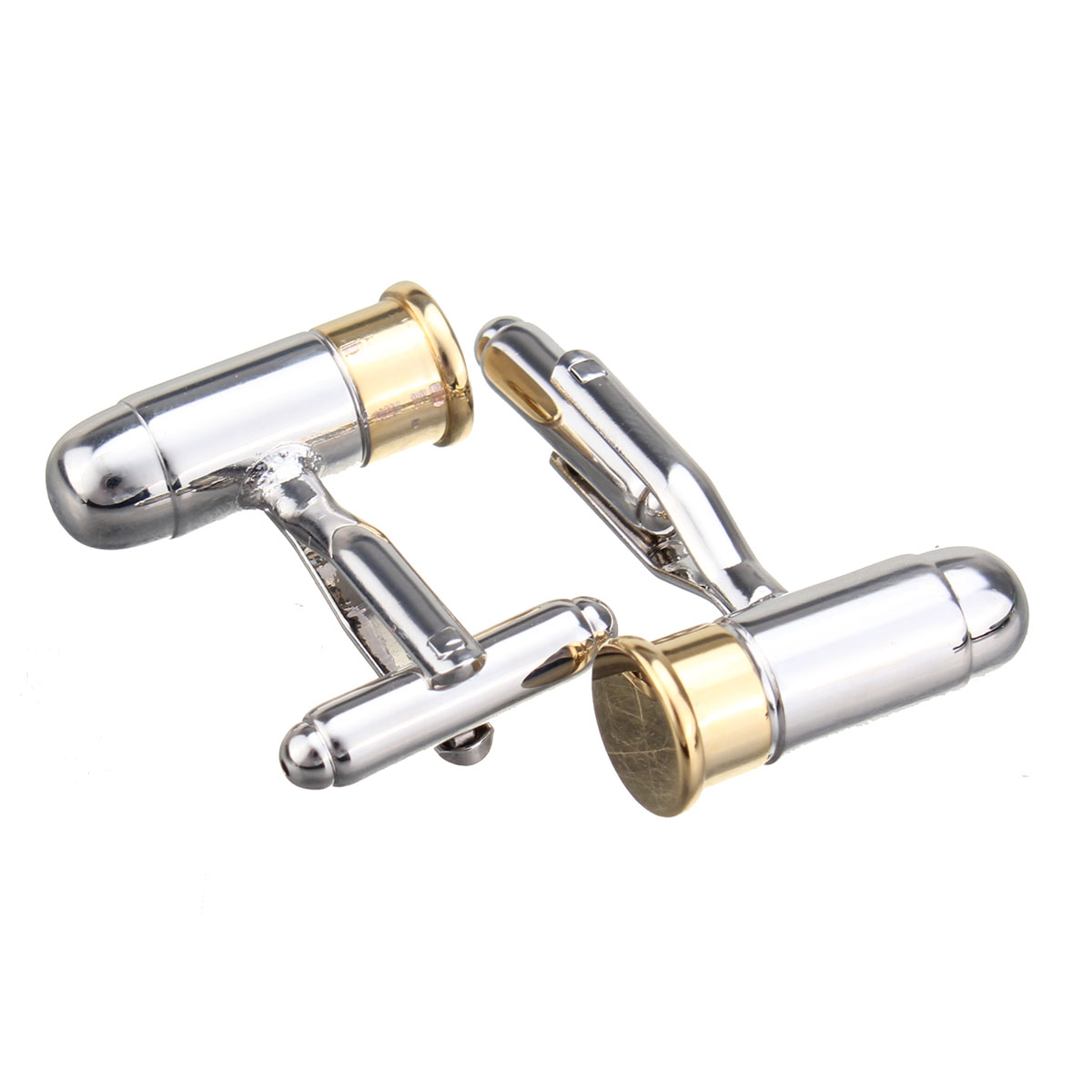 Men Male Silver Gold Bullet Pattern Electroplate Cuff Links Wedding Gift Suit Shirt Accessories