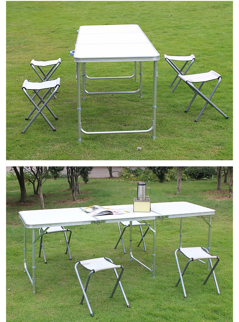 6FT Aluminum Portable Camp Table Adjustable Trestle Folding Pinic Table