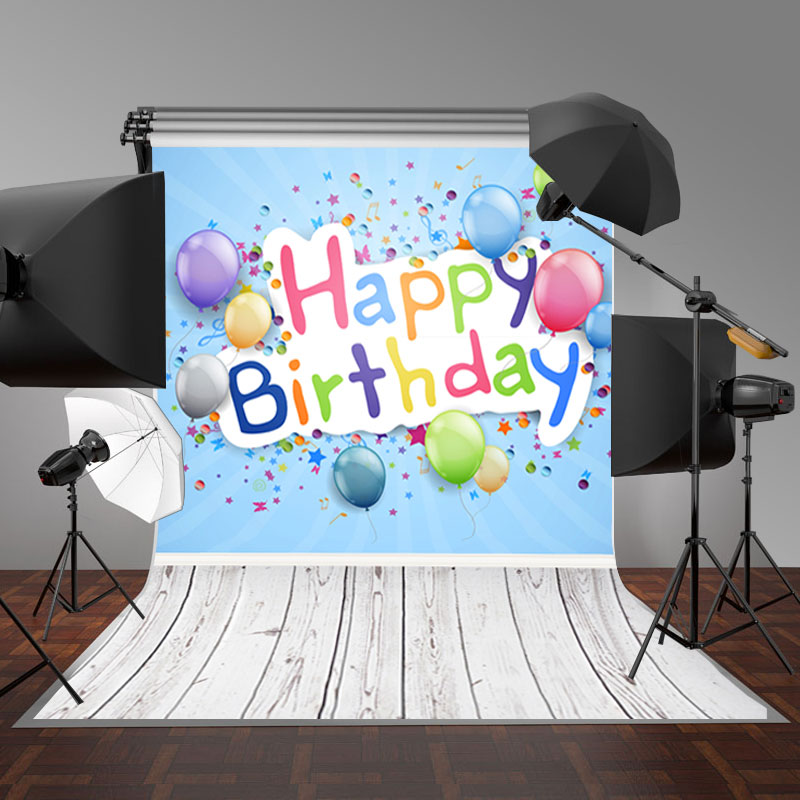 5x7FT Vinyl Floor Happy Birthday Photography Backdrop Background Studio Photo Props