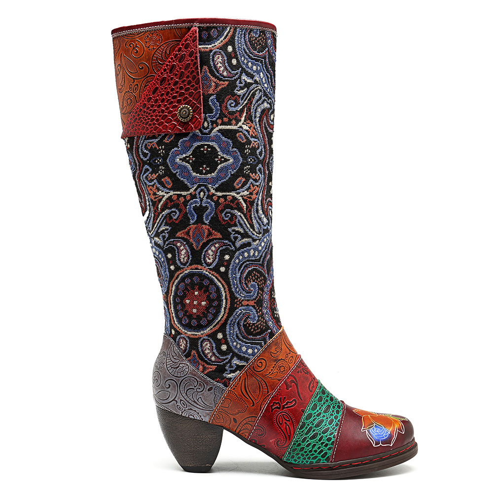 SOCOFY Bohemian Genuine Leather Jacquard Mid Calf Boots