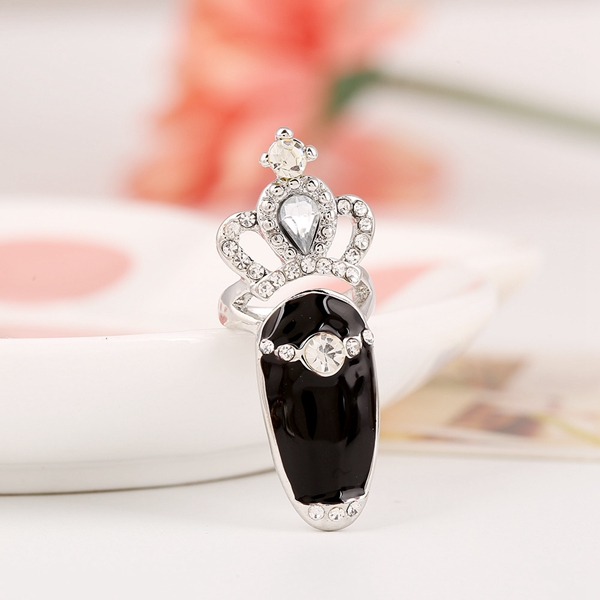 European Sweet Inlay Rhinestone Crown Fingernail Ring