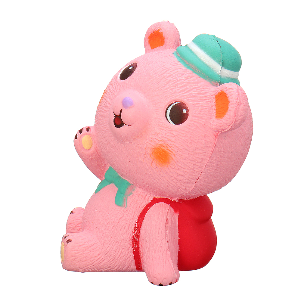 11.5*7*4.5CM Pink Schoolbag Bear Squishy Slow Rising With Packaging Collection Gift Soft Toy