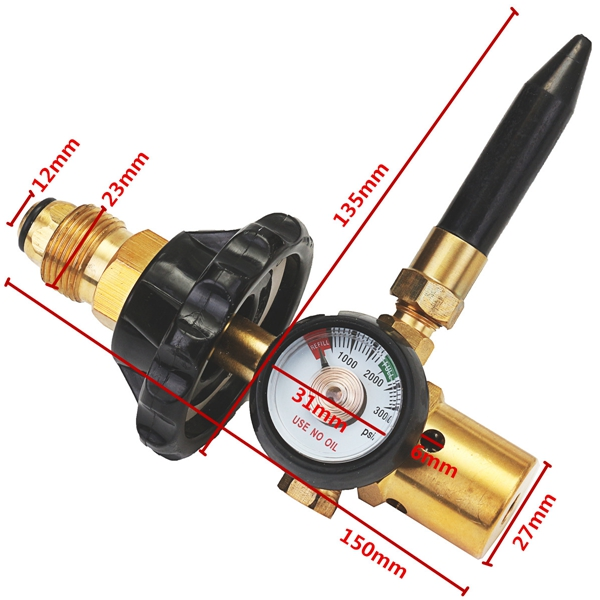 Helium Latex Balloon Air Inflator Regulator With Gauge For CGA580 Tank Valves