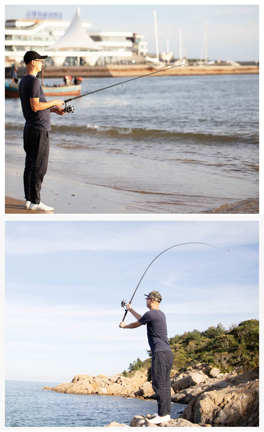 XIAOMI CADENCE Carbon Fiber 2.1-2.7m Fishing Rod Reel Combo Outdoor Fishing Pole Spinning Reel Suit