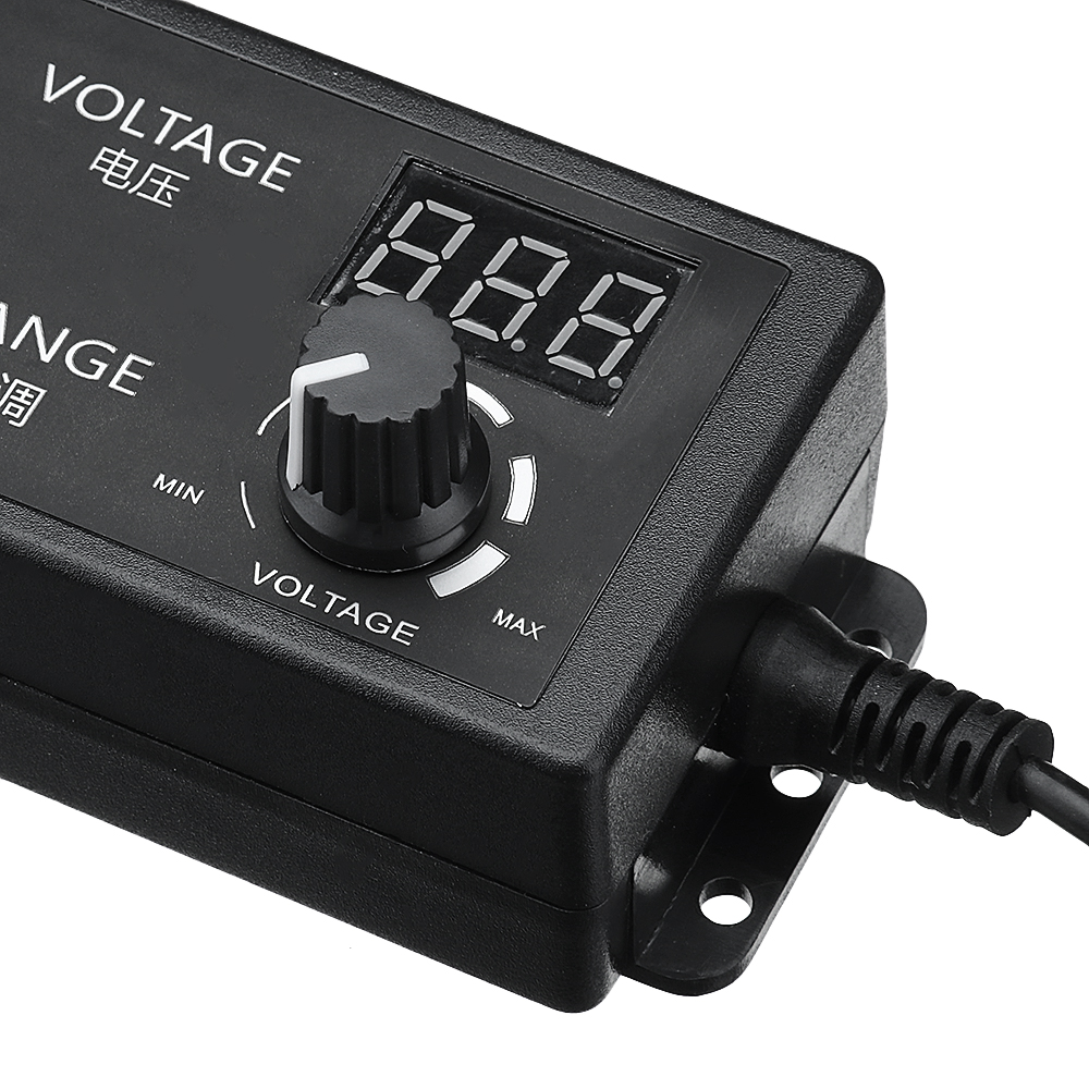 Excellway® 4-24V 2.5A 60W AC/DC Adjustable Power Adapter Supply EU Plug Speed Control Volt Display