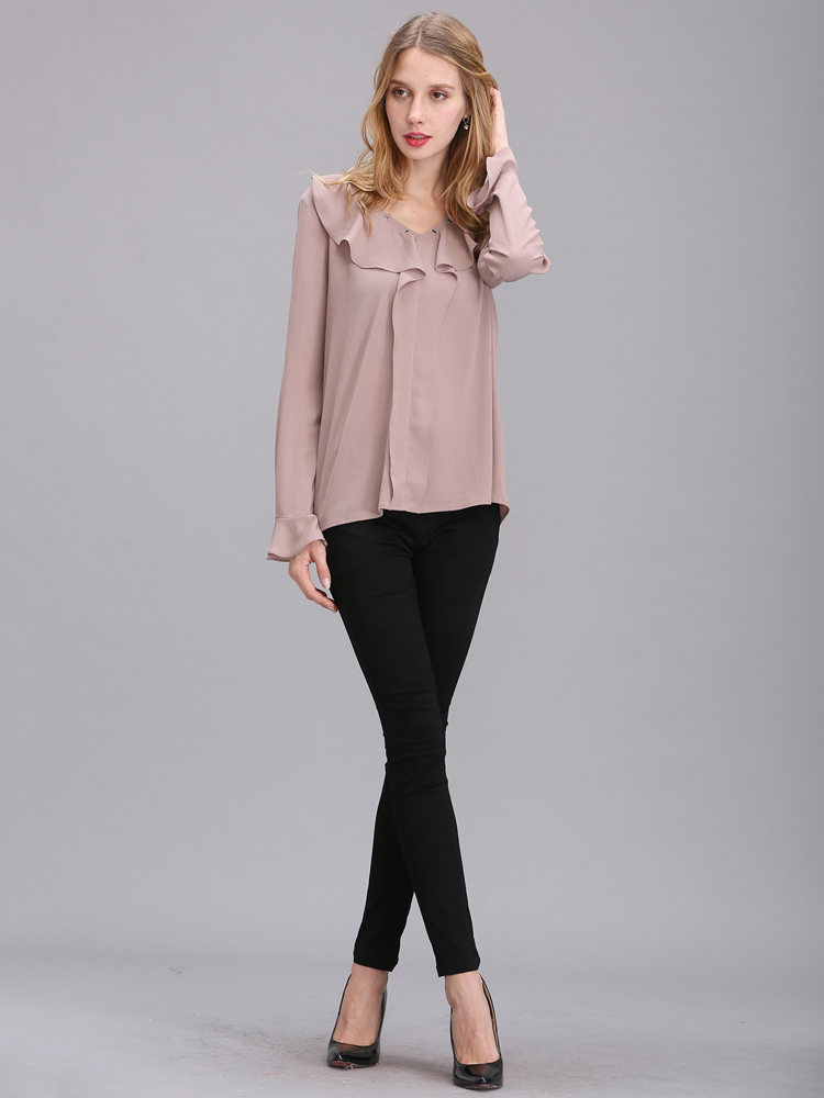 Women Elegant Chiffon Flounced Long Trumpet Sleeve Shirt
