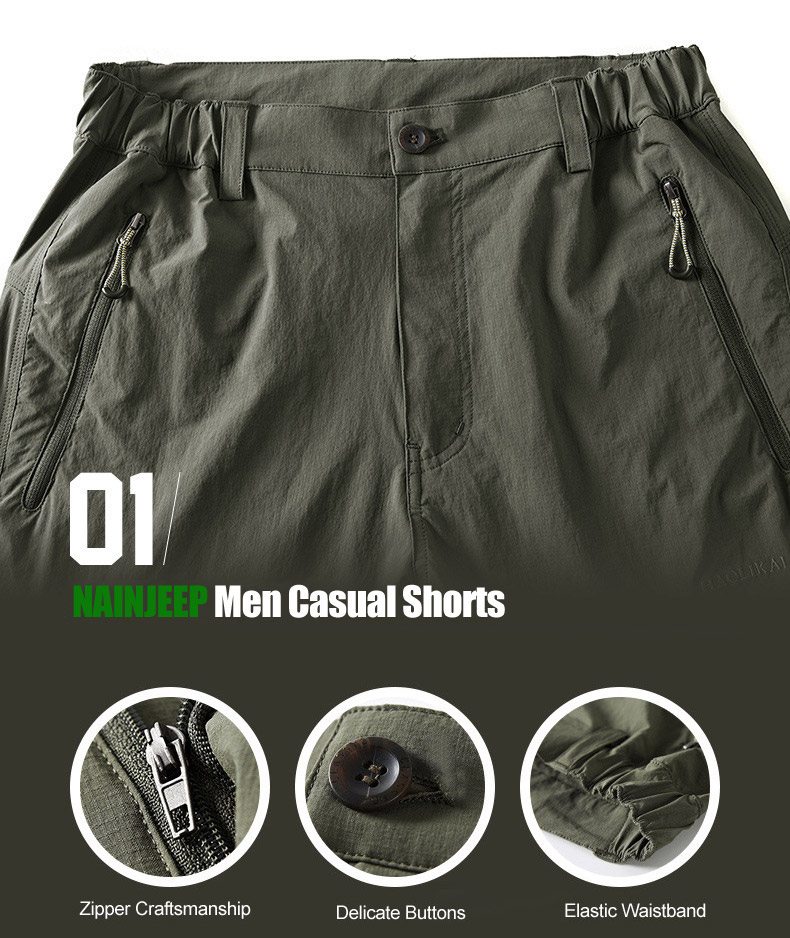 Summer Men's Outdooors Quick Dry Shorts Water Repellent Casual Multi Pocket Shorts