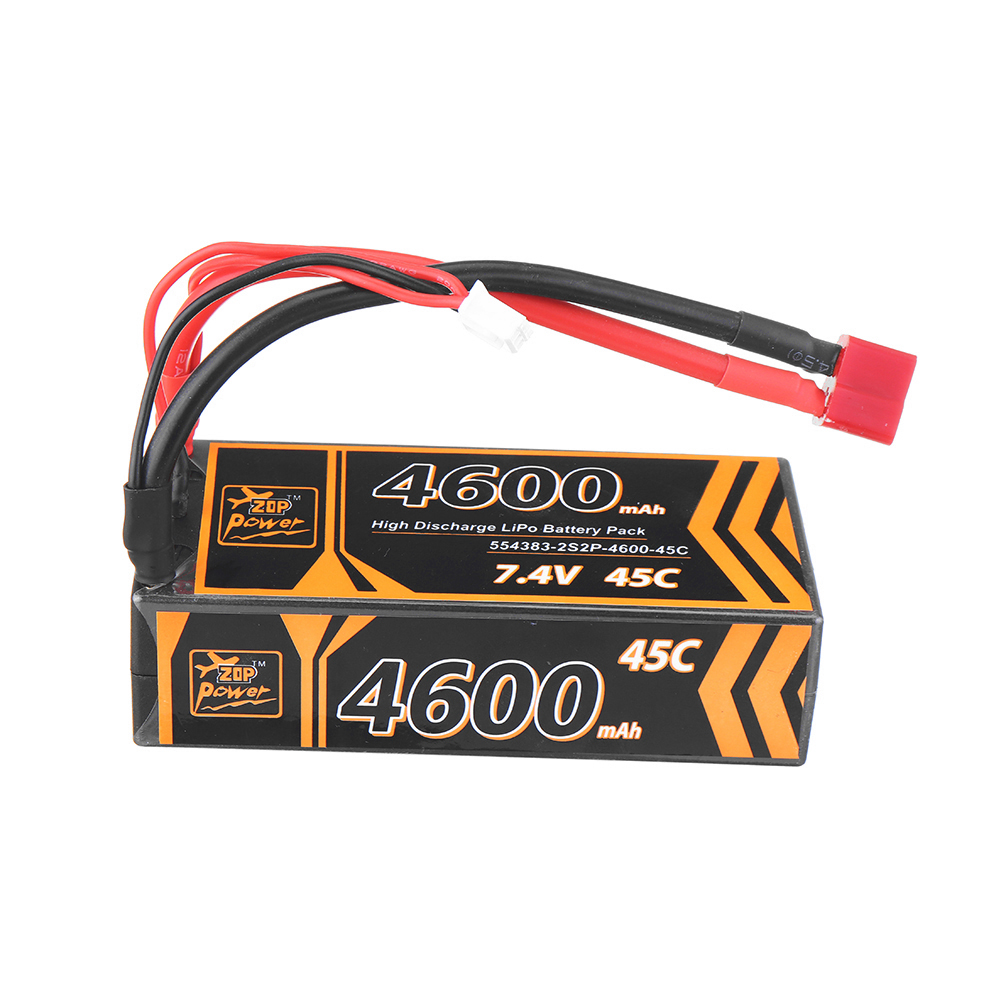 ZOP Power 7.4V 4600mAh 45C 2S Lipo Battery T Plug for RC Car - Photo: 4
