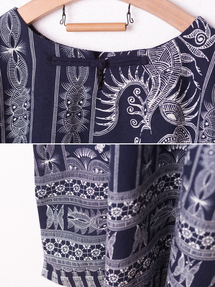 Folk Style Buckle Cotton Linen Print Long Sleeve Robe Dress