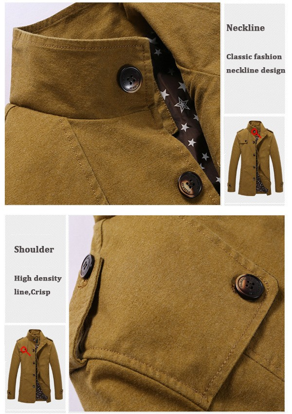 Mens Fashion Plus Size Casual Solid Color Jacket Outdoor Trench Coat