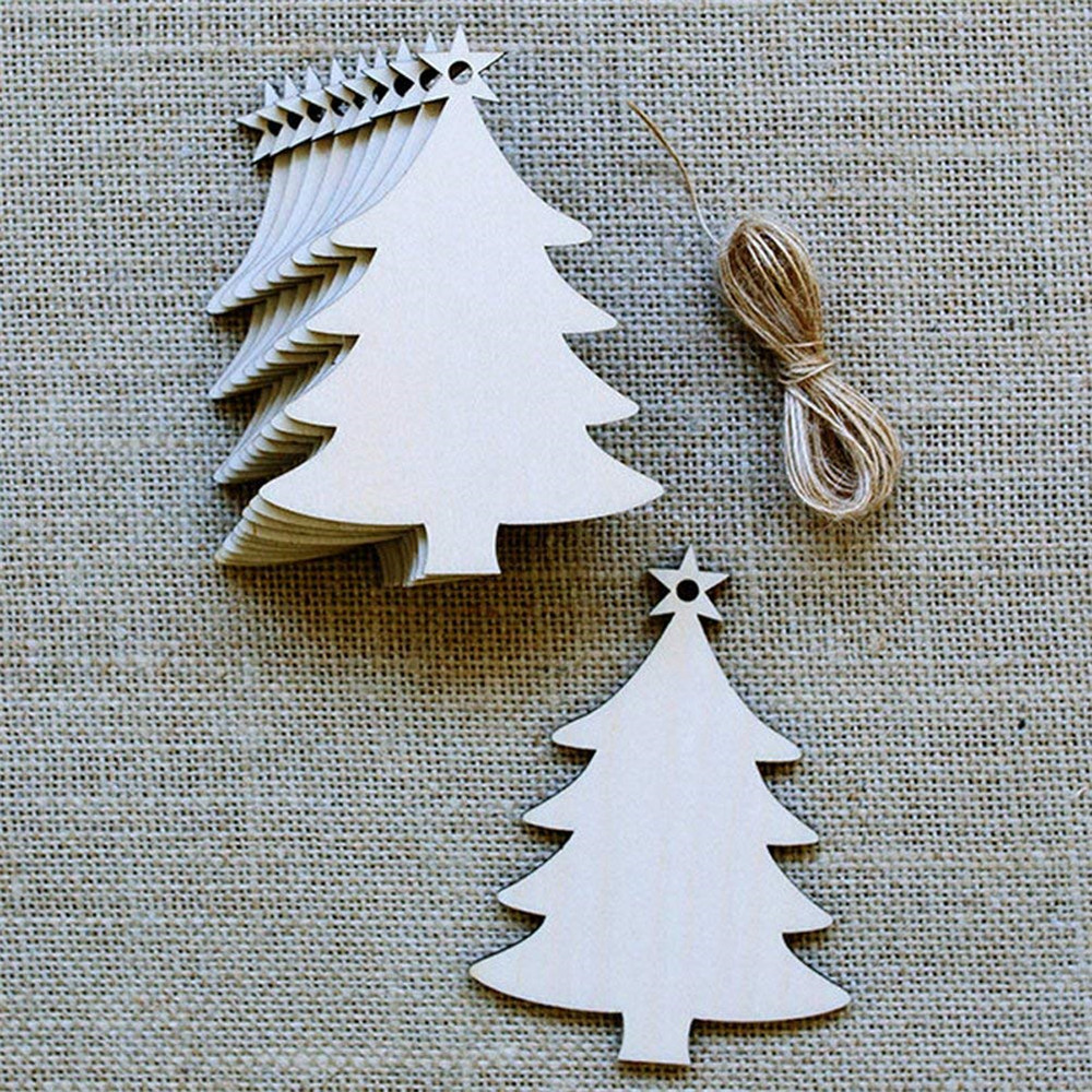 10Pcs Blank Christmas Tree Wood Chip Sheet Hanging Tags Ornament Laser Engraving Wooden DIY Crafts