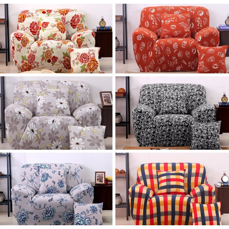 Three Seater Textile Spandex Strench Flexible Printed Elastic Sofa Couch Cover Furniture Protector