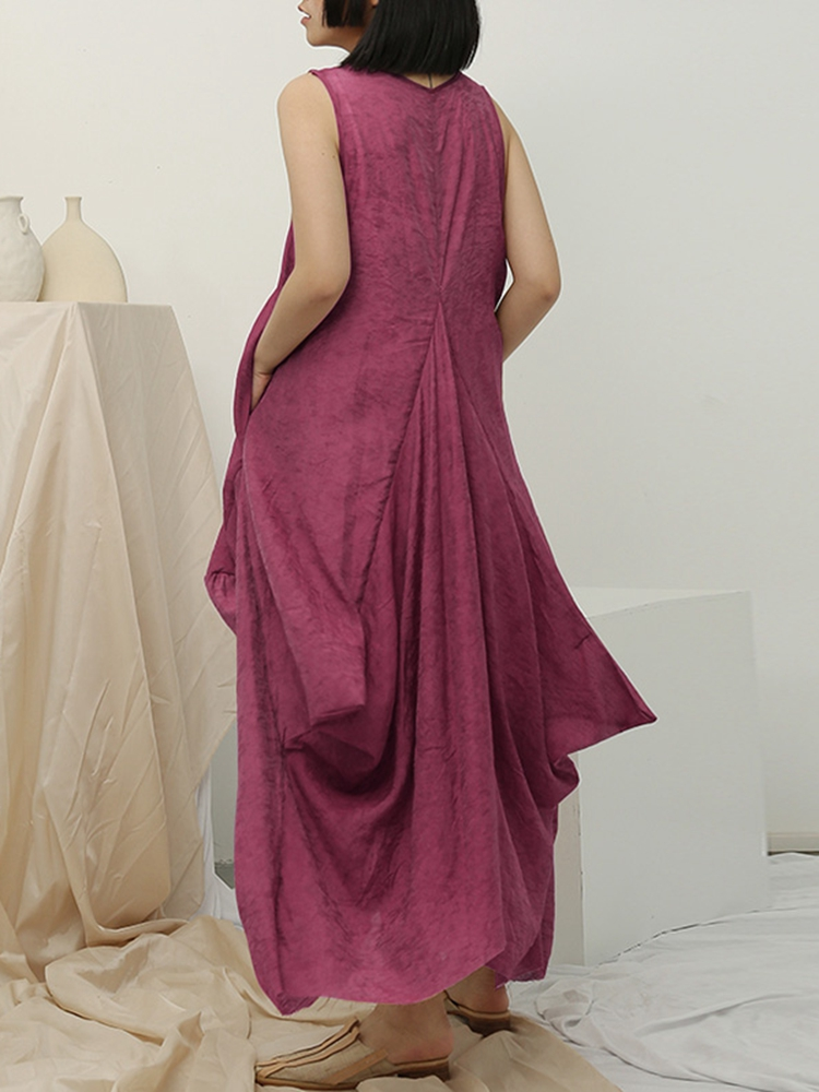 Casual Loose Crew Neck Side Pocket Sleeveless Maxi Dress