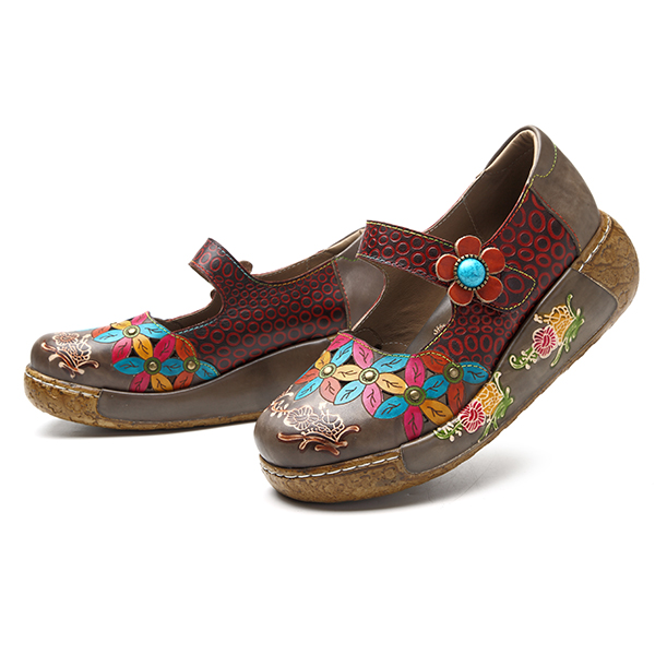 SOCOFY Women Genuine Leather Casual Flower Slip On Shoes