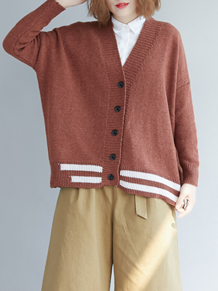 Women V-neck Long Sleeve Button Knit Cardigans Coat Sweater