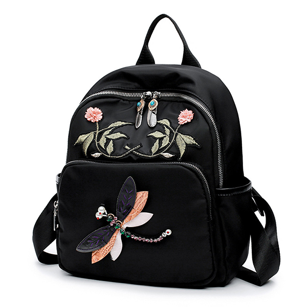 Women Oxford Embroidery Dragonfly Pattern Capacity Backpack Satchel