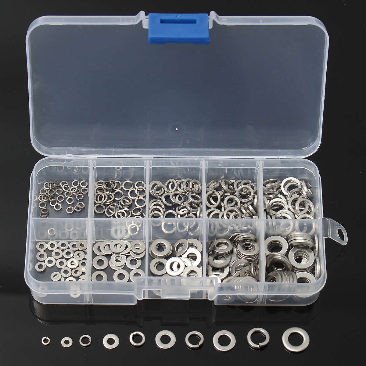 304 Stainless Steel Spring Washer M2-M6 W/Case Assortment For Sump Plugs 300Pcs