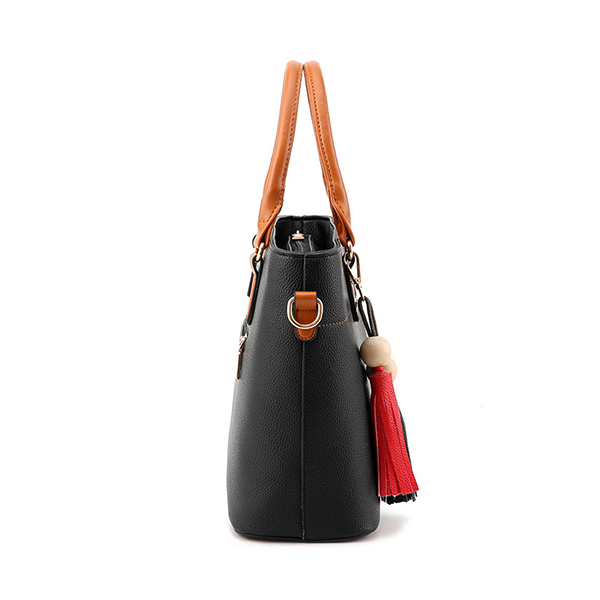 Women Solid Faux Leather Large Capacity Handbag