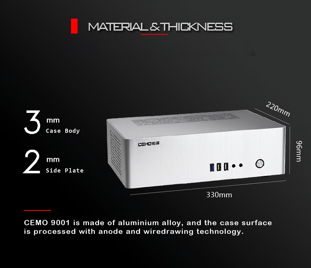CEMO 9001 Aluminum Alloy Horizontal Type ITX Computer Case HTPC Case Support 1U Flex Power Supply
