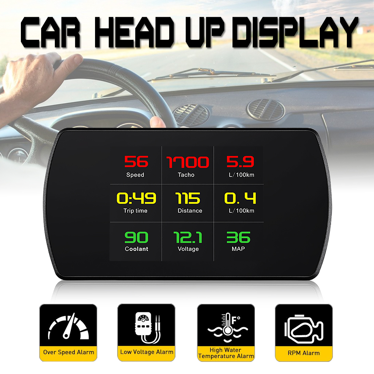 4.3 Inch P12 Car HUD Head Up Display OBO OBO2 Auto Digital Meter Speed Warning