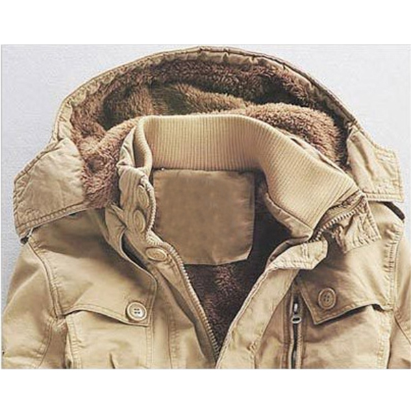 Plus Size S-4XL Thick Fleece Warm Hooded Mid Long Parkas