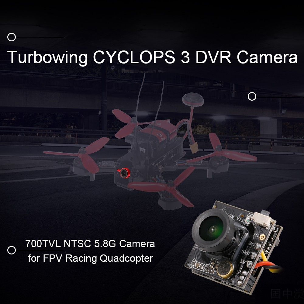 Turbowing DVR CYCLOPS 3 DVR-CAM AIO 1/3 CMOS 700TVL 170 Degree FPV Camera NTSC For RC Drone