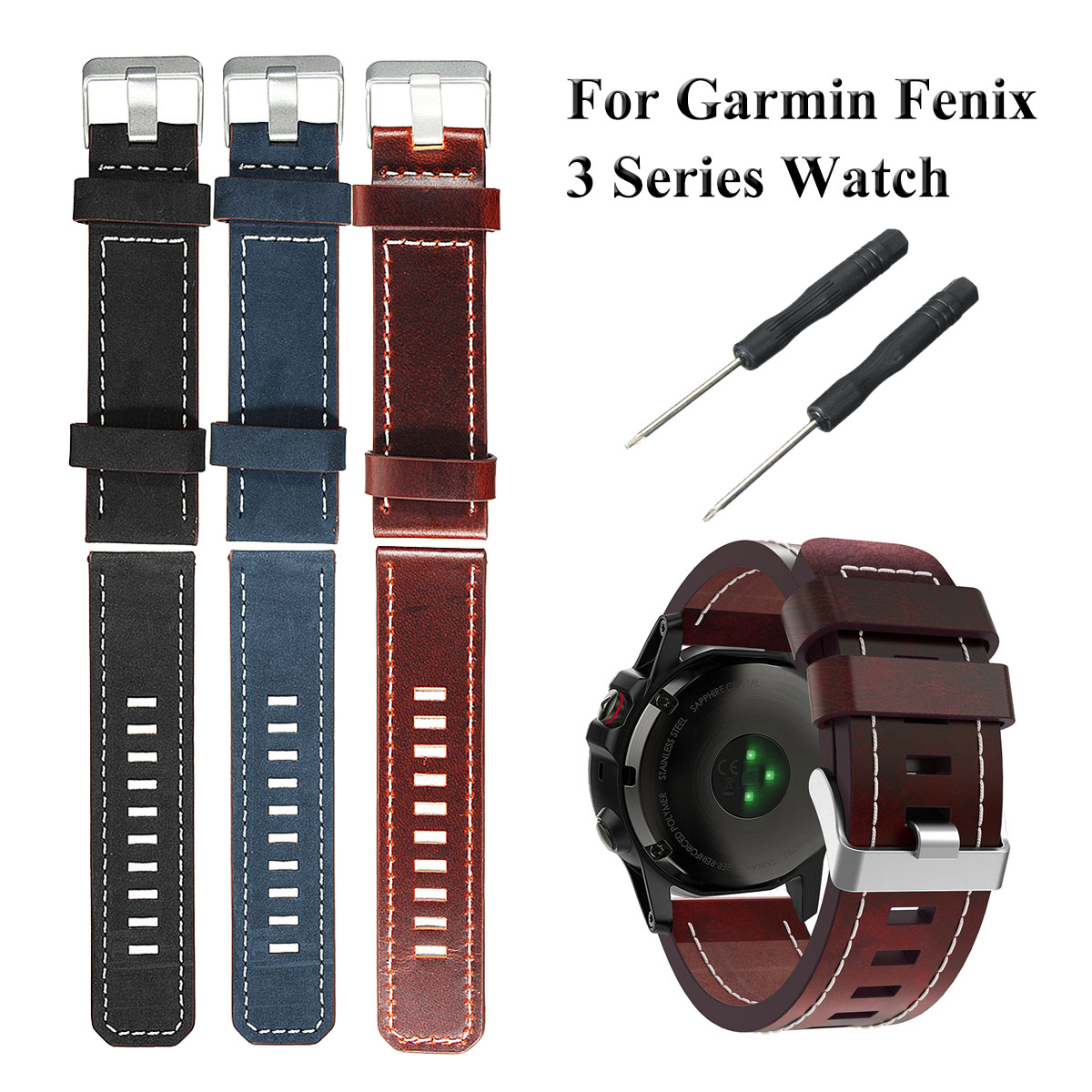 PU Leather Watch Band Strap Bracelet Replacement For Garmin Fenix 3 Series +Tool