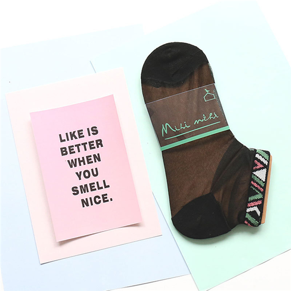 Women Girls Lace Crystal Glass Silk Ultra Thin Socks Transparent Harajuku Style Socks Ankle Socks