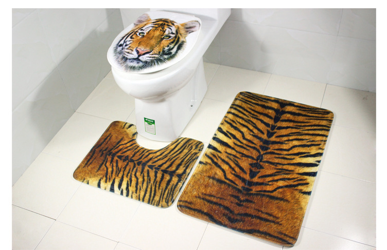 Honana BX-255 Bathroom3 Piece Anti-slip Toilet Seat Tiger Leopard Stripes Carpet Stool Mat
