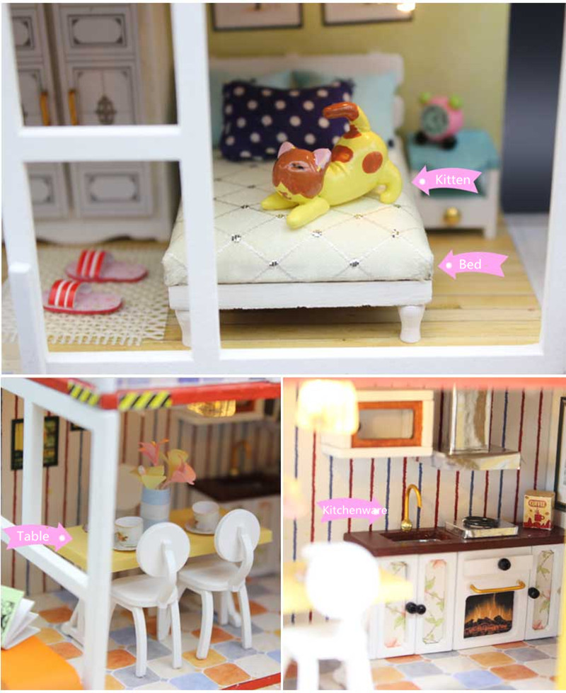 Hoomeda 13842Z Container Home B With Music Cover Light DIY Dollhouse Kit 3D Japanese Style