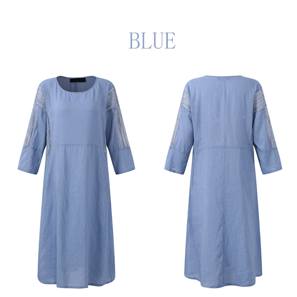Casual Women Hollow Out Splicing Dress