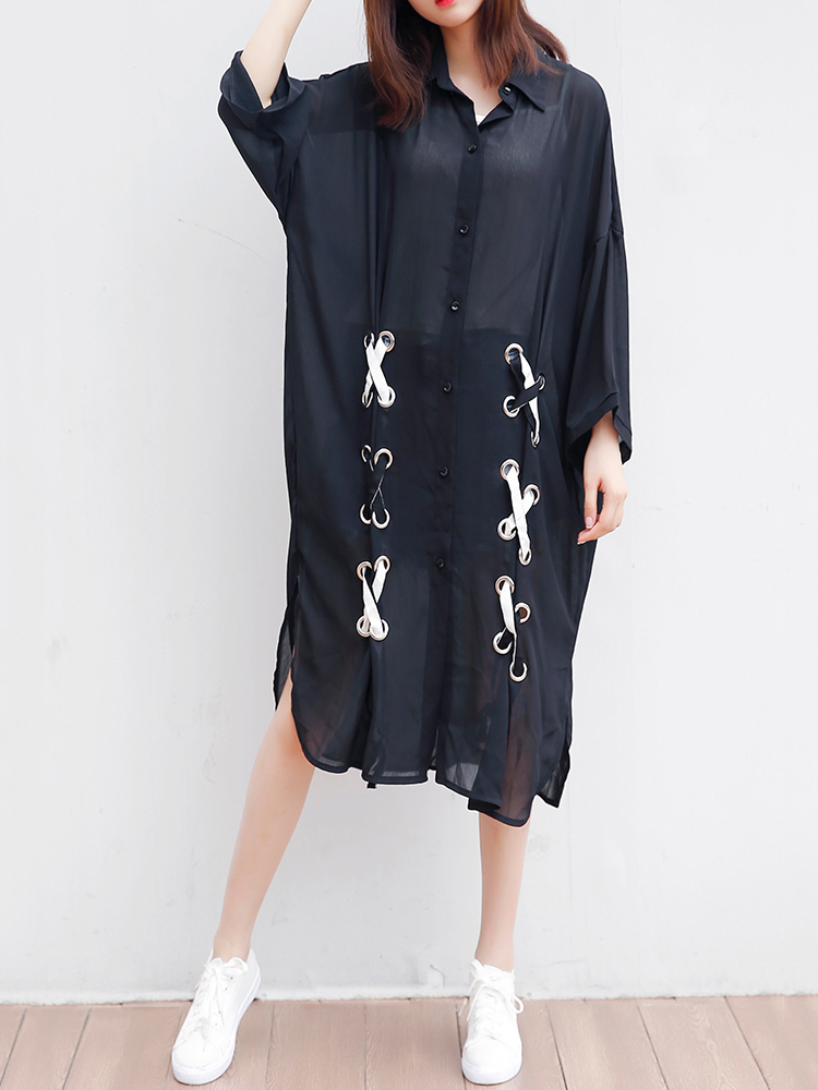 Summer Women Long Sleeve Kimono Cardigan Plus Size Casual Long Shirt