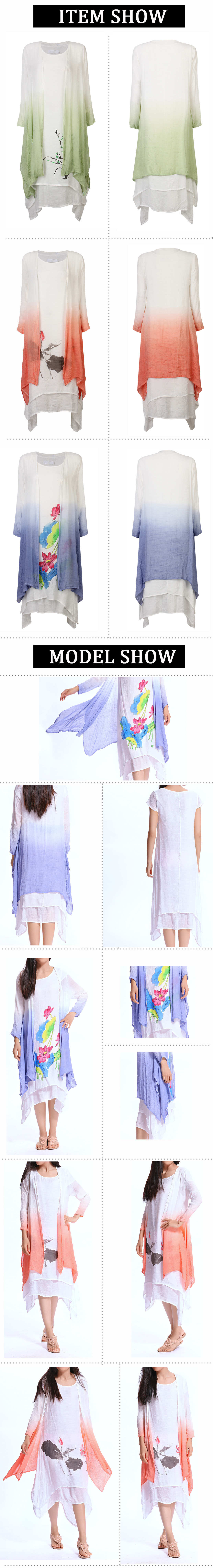 Women Cotton Vintage Ink Printing Loose Two-Piece Long Sleeve Dress