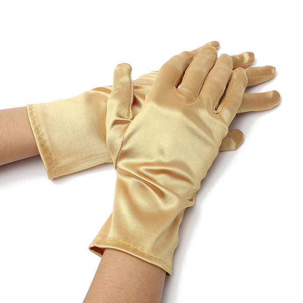 Wedding Evening Prom Etiquette Wrist Magic Gloves Riding Cylcing Mountain Bike Gold Silver