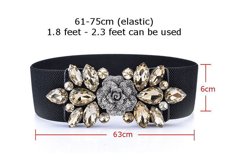 Women Ladies Vintage Wide Rhinestone Elastic Buckle Waist Band Stretch Belt